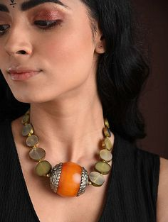 Buy The Stone Age Parampara Elevate your look with spectacular silver-tone stone-beaded jewelry for over-the-top statement Online at Jaypore.com Fashion Jewelry Necklaces, Beaded Jewelry, Beaded Necklace, Shopping Coupons, Backpack Brands, Stone Age, Necklace Online, Yellow, Grey