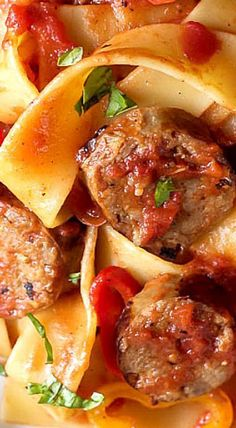 Tomato Pappardelle Pasta with Italian Sausage and Peppers ~ A delicious comfort food recipe made in 30 minutes