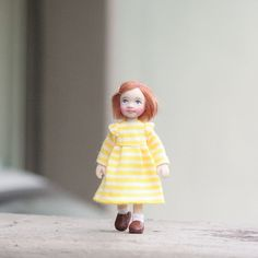 1/12th scale OOAK DollHouse Miniature Poseable Little Girl Doll in Yellow Dress Polymer Clay Art doll Artist Handmade by Emily Chan