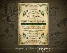 Lord of the Rings Baby Shower Invitation Hobbit by StudioYniguez