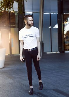 Get this look: http://lb.nu/look/8238895  More looks by Alberto Degano: http://lb.nu/albertodega  Items in this look:  Gucci Belt, Cheap Monday Jeans, Valentino Shoes   #black #white #shirt #saintlaurent #boy