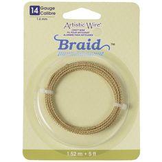 Artistic Wire Brass Braided Jewelry Wire, 14ga, 5ft - Tarnish Resistant Brass - (Limited Stock)