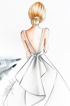 27 Bridal Illustrations From Popular Dress Designers Bridal illust. - 27 Bridal Illustrations From Popular Dress Designers Bridal illust… – 27 Bridal - Dress Design Drawing, Dress Design Sketches, Girl Drawing Sketches, Girly Drawings, Art Drawings Sketches Simple, Fashion Design Drawings, Dress Drawing, Fashion Sketches, Drawing Ideas