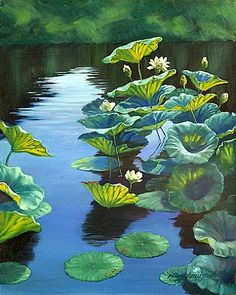 Lotus Garden I - White lotus flowers and leaves on a pond by Mary Louise Holt