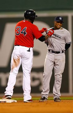 David Ortiz grabs Robinson Cano by the jersey at second base following a  double during the c0706d388a2