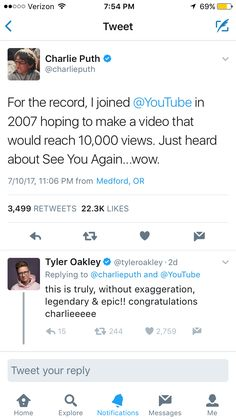 Charlie Puth's song See You Again is officially the most viewed video in YouTube history... so proud of him!