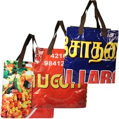 """Extra Large Maxi Bags with Assorted Prints, made of recycled billboards  Crafted by Artisans in India  Measure 18-1/2"""" high x 14"""" wide x 9"""" deep"""