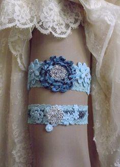 Zebra Lace Garter Set/ Tiffany Blue Wedding Garter by Weddingzilla, $29.95