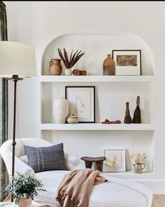 shelf styling Soft sage, zesty emerald and tantalising teal hit the insta hot spots in June. Cool white spaces and luscious outdoor areas scored highly with you too. Home Design, Interior Design, Interior Styling, Living Room Decor, Bedroom Decor, Shelf Ideas For Living Room, Living Rooms, Bedroom Shelves, Living Room Shelves