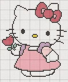 Hello Kitty perler bead, cross stitch or applique pattern Cross Stitch Baby, Cross Stitch Charts, Cross Stitch Designs, Cross Stitch Patterns, Crochet Hello Kitty, Chat Hello Kitty, Pixel Crochet, Crochet Chart, Cross Stitching