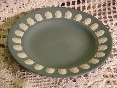 Wedgwood Jasperware Scallop Shell Bread & Butter Plate Cream on Teal #wedgwood
