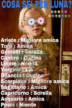 Allora io sono la migliore amica di #LunaLovegood ⚡ Mentre voi cosa siete per lei? ⚡ Postate nei commenti #Potterheads ⚡ Passate nel nostro gruppo : https://www.facebook.com/groups/1618492761792081/ Telegram : https://t.me/joinchat/FhbXdUJZGkmAv5vBgKZBGA Instagram : https://www.instagram.com/harry_potter_binario934/ ⚡Hermione⚡