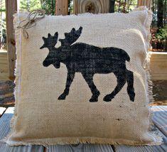 Burlap Pillow Rustic Decor by LittleZebrasBoutique on Etsy, $25.50