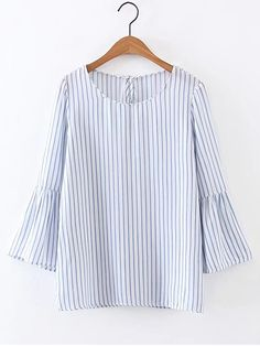 Buy Bell Sleeve Vertical Striped Blouse from abaday.com, FREE shipping Worldwide - Fashion Clothing, Latest Street Fashion At Abaday.com