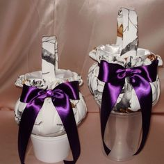 2 WHITE SNOW CAMO  FLOWER GIRL  BASKETS custom colored bows THESE LOVELY UNIQUE BRIDAL ACCESSORIES  ARE AVAILABLE IN  MY EBAY STORE .  YOU CAN ADD ADDITIONAL ITEMS TO THE SET AND HAVE YOUR COLOR FOR THE BOWS.  PLEASE SEE KRINGLE3 ON EBAY TO PURCHASE THESE LOVELY ITEMS TO MAKE YOUR WEDDING LOVELY AND UNIQUE.