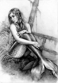 Kai Fine Art is an art website, shows painting and illustration works all over the world. Fantasy Creatures, Mythical Creatures, Sea Creatures, Mermaid Drawings, Mermaid Tattoos, Mermaid Sketch, Mermaid Artwork, Realistic Mermaid Drawing, Beautiful Mermaid Drawing