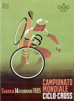 """""""Olympic Vintage Bicycle Poster of Campionato Mondiale Ciclo-Cross Varese Poster."""" I had no idea cyclocross had been around so long. Vintage Italian Posters, Vintage Advertising Posters, Vintage Travel Posters, Vintage Advertisements, French Posters, Bike Poster, Poster S, Print Poster, Velo Vintage"""