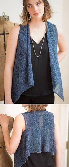 "Free Knitting Pattern for Easy Leni Vest - This draped front vest is knit with stockinette in 3 pieces with a shaped back and long, angled front that's great for layering. Knit flat and seamed. Designed by Berroco Design Team. Sizes Back Shoulder Width—10½ (12, 13½, 15, 16¼)"". DK weight yarn."