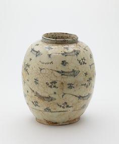 Jar  Type     Jar  Historical period(s)     18th century  Medium     Stone-paste with underglaze painted decoration  Dimension(s)     23.0 x 19.7 cm  Geography     Iran