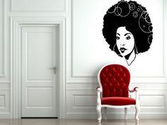 Room Wall Decor Vinyl Sticker Room Decal Art Beautiful Afro Girl Haircut Hoops Circles Salon Model 895, http://www.amazon.com/dp/B00GFKS9O8/ref=cm_sw_r_pi_awdm_aTLYwb13C88WK