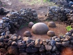 Stone formation at AbuTe Pito Kura on Easter Island is also known as 'the navel of the world.'