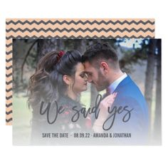 Grey and Peach color Chevron Wedding Save the Date Card - wedding invitations cards custom invitation card design marriage party