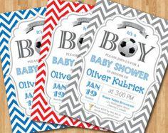 Soccer Baby Shower Invitation. Baby boy chevron invites. Baby boy birthday party invitations. Any custom color. DIY digital printable.