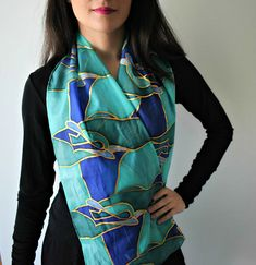 Hand Painted Silk Scarf. A one of a kind accessory made just for you! Material: 100% Silk Dimensions: 140x50 cm Every hand painted item is unique. Therefore, no two are exactly alike and many pieces exhibit handmade imperfections that should be considered a sign of authenticity and