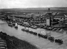 Motor-Racing, 28th February 1937, Brooklands, Surrey, Cars line up at the Brooklands Race Track for the start of the Junior Car Club Rally