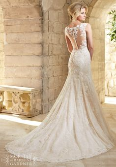 2778 Bridal Gowns / Dresses Chantilly Lace Gown Decorated with Venice Lace Appliques and Scalloped Hemline