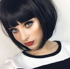 Three Stunning Styles by Short Shag Haircuts . Three stunning styles from Short Shag Haircuts Bob Haircut With Bangs, Bob Hairstyles With Bangs, Black Hairstyles, Amazing Hairstyles, Blunt Bob With Bangs, Bob Bangs, Haircut Styles, Medium Hairstyles, Short Hair With Bangs For Round Faces