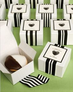 Black, white and yummy all over.  Very classy.- Instant Cardma    Dear Heart: Thumb Print Heart Wedding Favors