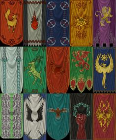 A compilation of my texture work I did for Bretic banners, to be used in Beyond Skyrim. Most of these are settlements, but some refer to clans or allian. Iliac Bay - High Rock banners part 1 Fantasy Concept Art, Fantasy Art, Medieval Banner, Holy Symbol, Fantasy World Map, Flag Icon, Visual Development, Anime Fantasy, Medieval Fantasy