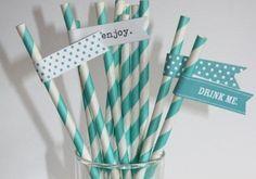 50 Drink Me Stickers + 50 Wedding/Birthday/Party Paper Straws