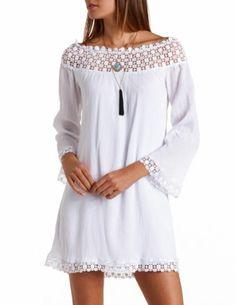 Off-the-Shoulder Crochet Trim Shift Dress: Charlotte Russe