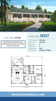 ft crawl or slab Economical Country , Ranch , Traditional House Plan 20227 with 3 Beds, 2 Baths Image Size: 1393 x House Plans One Story, Barn House Plans, Family House Plans, Ranch House Plans, Cottage House Plans, Craftsman House Plans, Country House Plans, New House Plans, Dream House Plans