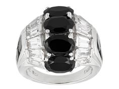 6.51ctw Oval And Round Black Spinel With 1.92ctw Tapered Baguette White Topaz Sterling Silver Ring