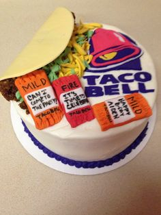 Everything made from cake, icing and fondant. Taco Bell Logo, Cute Birthday Cakes, 16th Birthday, Taco Cake, Farewell Cake, Cupcake Cakes, Cake Icing, Cupcakes, Taco Party