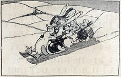 Adorable Bunny Rabbit and Friends On Sled by DandDDigitalDelights