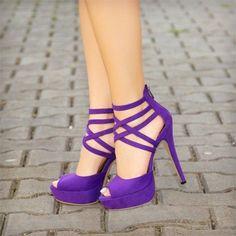 Purple Strappy Heels
