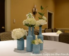 Painted wine bottles and mason jars would be great for side tables and cocktail bar.