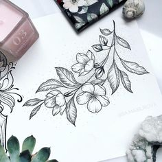 Any tattoo lovers out there? Such a nice drawing, don't you think? Cool Tattoos, Inspirational Tattoos, Body Art Tattoos, Tattoos, Future Tattoos, Floral Tattoo, Floral Drawing, Body Art, Tattoo Drawings
