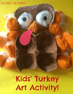 Thanksgiving turkey kids' craft! This art activity is a 3-D paint project for the holiday.