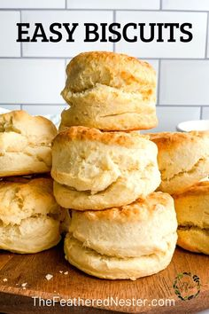Make the BEST, easiest flakey, delicious homemade biscuits in only 20 minutes with 2 simple ingredients plus a pinch of salt. They are absolutely fool-proof with my 3 baking tips and recipe. Serve with sausage gravy for breakfast, as a side for lunch or dinner, or swap the salt for sugar and they become shortcakes perfrect for any fruit, like strawberries. Easy Homemade Biscuits, Easy Biscuit Recipe, How To Make Biscuits, Homemade Sausage Gravy, Baking Secrets, Baking Tips, Breakfast Biscuits, Best Side Dishes, Chowder Recipes