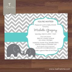 Gray and Ice Blue Chevron with Elephant Baby Boy Shower Invitation