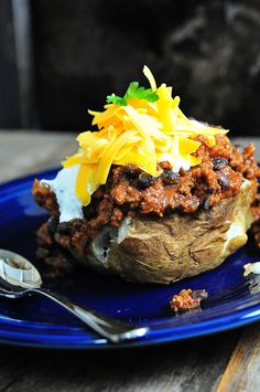 Chili Baked Potatoes Recipe by @addapinch | Robyn Stone | Robyn Stone