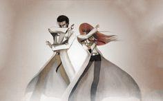 Steins;Gate Meme: Mad Scientists duo, Hououin Kyouma (Okabe Rintaro) and Christina (Makise Kurisu) doing JoJo-esque poses