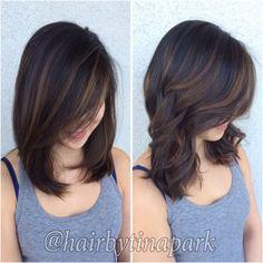 New hair color dark straight short hairstyles ideas Balayage Straight Hair, Brown Hair Balayage, Short Straight Hair, Balayage Hairstyle, Hair Color And Cut, Hair Color Dark, Curled Hairstyles, Straight Hairstyles, Hairdos