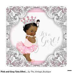 Pink and Gray Tutu Ethnic Girl Baby Shower Invitation