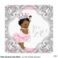 Pink and Gray Tutu Ethnic Girl Baby Shower Invitation